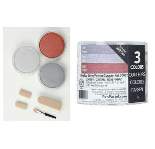 Colorfin PanPastel Ultra Soft Artist Metallic Pastel Set, 9ml, Silver, Pewter, Copper, 3-Pack