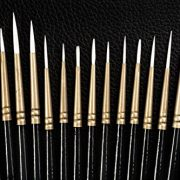 Detail Paint Brush Set of 15, Fine Artist Quality, Hand Made, Ideal for producing details, fine lines, shading, and special textures in all mediums