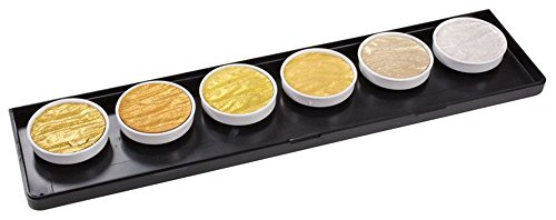 Finetec Artist Mica Watercolor Paint 6-Color Set metallic, gold, 1.2″ Diameter; Color: Multi; Format: Pan; Type: Watercolor; (model M600), price per set