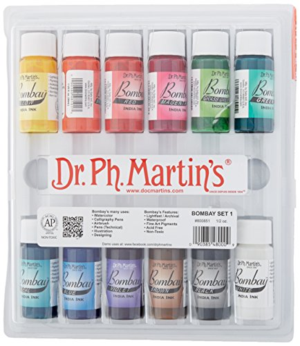 Dr. Ph. Martin's Bombay India Ink Bottles, 0.5 oz, Set of 12 (Set 1)