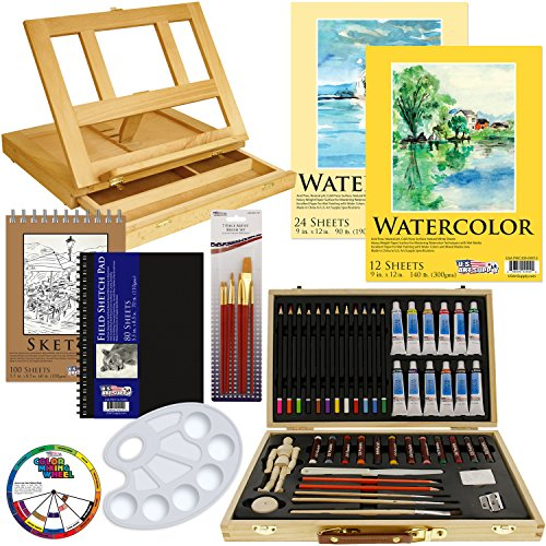 US Art Supply® 60-Piece Custom Artist Watercolor Painting Set with, Wood Drawer Table Easel, 12-Tubes Watercolor Colors, 12 Colored Pencils, 2 Graphite Pencils, 12 Oil Pastels, 2-each Watercolor Paper Pads, 100-Sheet Sketch Pad, 80-Page Hardbound Sketchbook, 10 Artist Brushes, 5.5″ Manikin, Plastic Palette with 10 Wells & Now Includes a FREE Color Wheel -Great Student Artist Starter Set