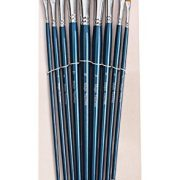 ARTIST PAINT BRUSHES – A – Professional Quality Black Tip, Golden Nylon, Long Handle, Angular Paint Brush Set – Ideal for Acrylic Painting and Oil Painting, and Equally Useful for Watercolor Painting and Gouache Color Painting. – The Natural Characteristics of the Golden Nylon Offers Excellent Liquid Holding Capacity and an Easy, Smooth Flow of Paint. The Fine Angular Head Paintbrushes Have a Luxurious Feel and Excellent Durability, Whilst Good Shape Holding Properties.