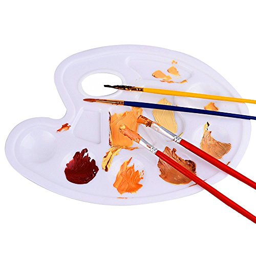 2 Piece Artist Style Palettes Mixing Trays with Traditional Thumb Hole for Painting DIY Crafts,White