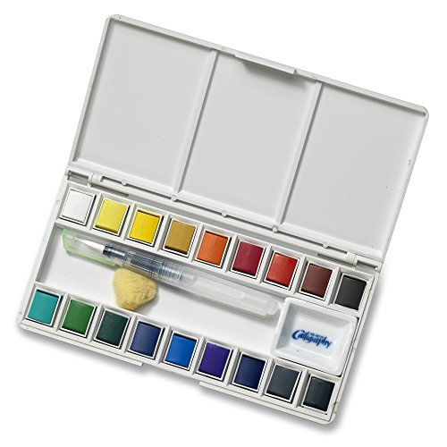 Jerry Q Art 18 Assorted Water Colors Travel Pocket Set- Free Refillable Water Brush With Sponge – Easy to Blend Colors – Built in Palette – Perfect For Painting On The Go JQ-118