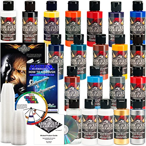 20 CREATEX Wicked Colors 2oz Starter Colors Airbrush Paint Set