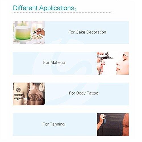 Pinkiou AirBrush Makeup kit Spray Gun Set with Mini Compressor for Cake Decoration Nail Painting Temporary Tattoo Hobby Art(Black)