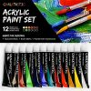 Quality Acrylic Paints – Best Acrylic Paint Set For Painting Canvas, Wood, Fabric, Clay, Ceramics, Glass, Nail Art & Crafts 12X12ml Carefully Selected Colors – Great For Beginners, to Hobby Painters