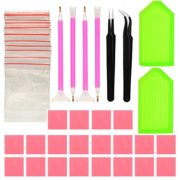 DIY Diamond Painting Tools Quick Point Pen,Cross Stitch Set Diamond Brush Set, Embroidery/glue/plastic Tray Set Sewing Accessories(48 pieces)