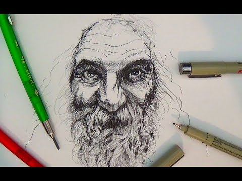 Pen and Ink Drawing Tutorials | Portrait Drawing Demonstration II