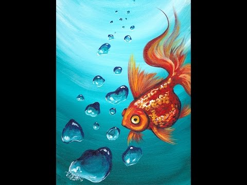 Goldfish and Realistic Underwater Bubbles Step by Step ...