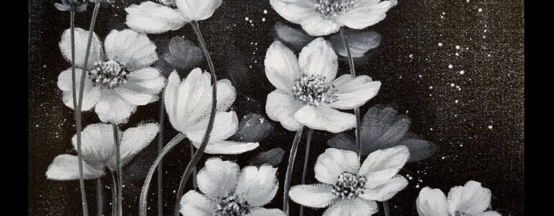 Easy Black And White Floral Acrylic Painting Tutorial For Beginners