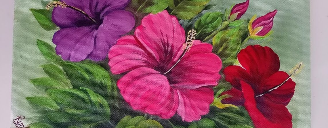Hibiscus Flower Bunch Painting Acrylic Painting Tutorial