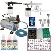 Master Airbrush Tattoo System 3 Airbrushes, Air Compressor, Book of 100 Stencils, 6′ Hose, Airbrush Holder, 3 Quick Couplers, Black, Red & Blue Temporary Tattoo Ink & How to Airbrush Training Book