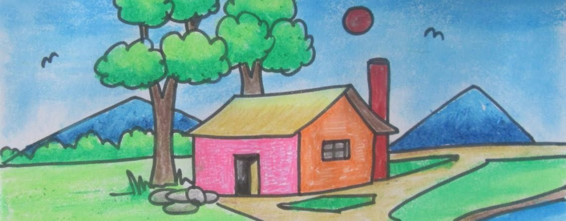 How To Draw Beautiful Village Scenery Drawing Tutorial For Kids