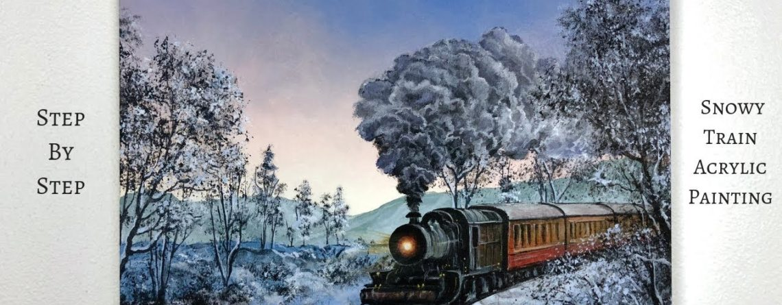 Snowy Train Step By Step Acrylic Painting Colorbyfeliks