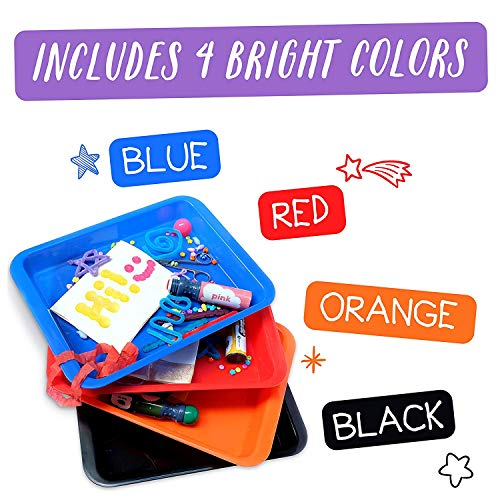Activity Plastic Tray – Art + Crafts Organizer Tray, Serving Tray, Great for Crafts, Beads, orbeez Water Beads, Painting (Set of 4 – Red, Blue, Orange, Black)