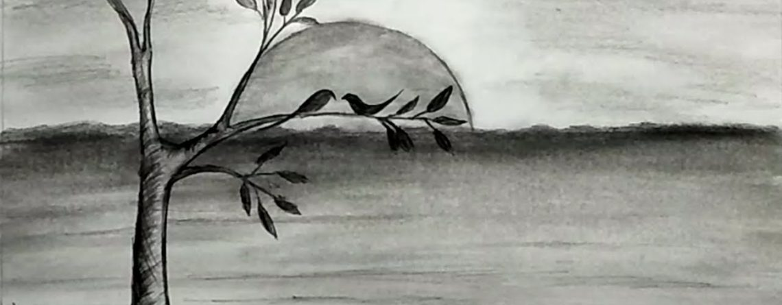 Sunset Scenery Pencil Drawing Tutorial For Kids