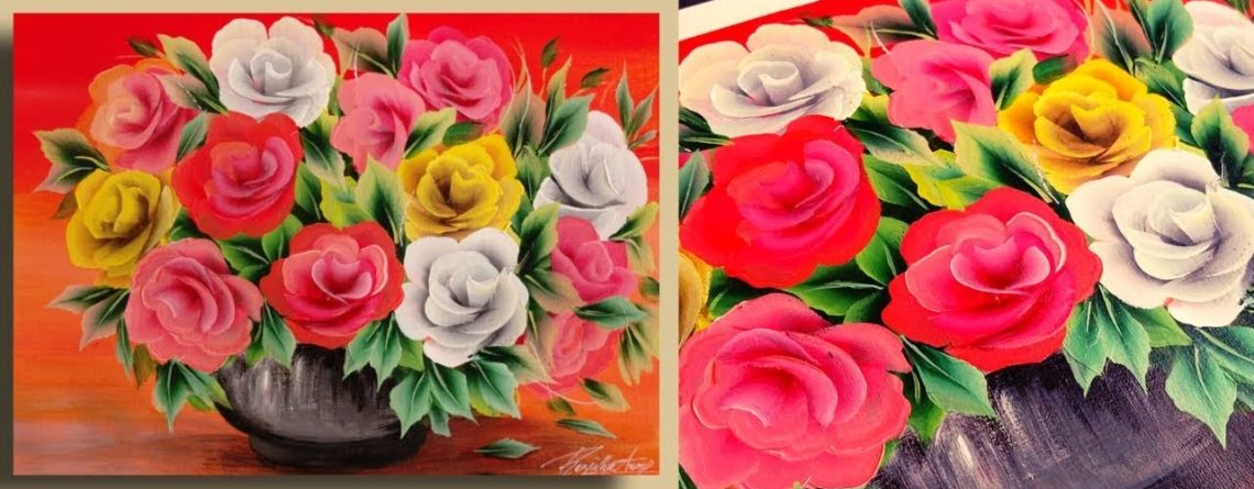 EASY Acrylic Painting ROSES For Beginners - Painting TOPICS 2019 - Oddly Satisfying - Day #23 ...