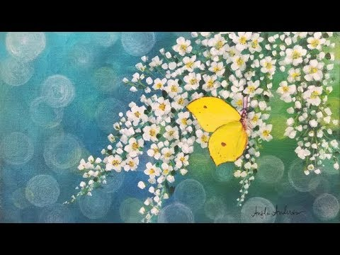 White Flowers with Yellow Butterfly Acrylic Painting LIVE ...