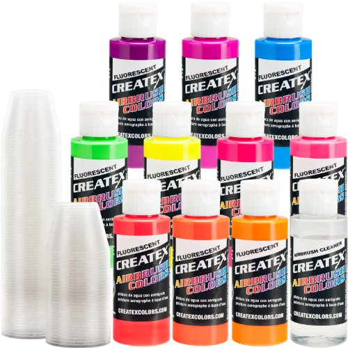 Createx KIT-F10 Flourescent 10 Airbrush Colors 2 oz Bottles