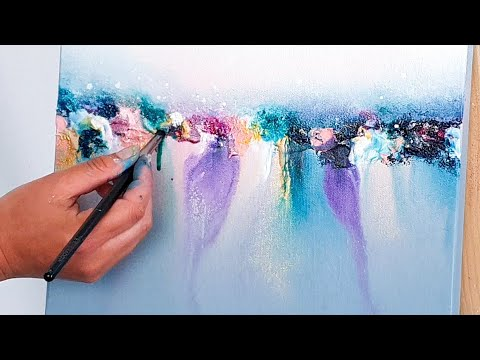 Abstract Acrylic Painting Tutorial / Colorful Reflection ...