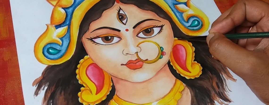 How To Draw Durga Maa Drawing Tutorial জয ম দ র গ Anup Kumar Acharjee Paintingsuppliesstore Com